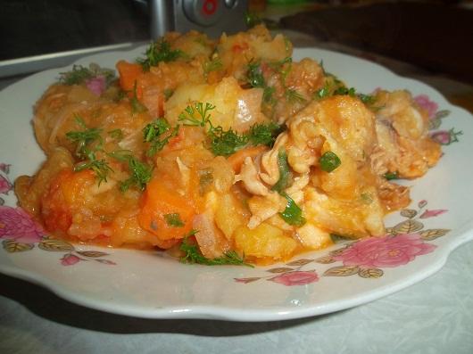 Картошка тушеная с фаршем в духовке рецепт