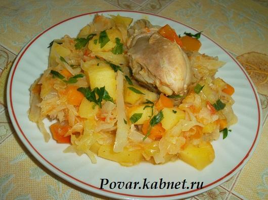 рецепт тушеная картошка с капустой и курицей
