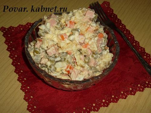 Салат оливье с калбасой