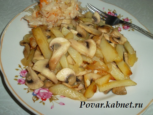 Жареная картошка с грибами рецепт