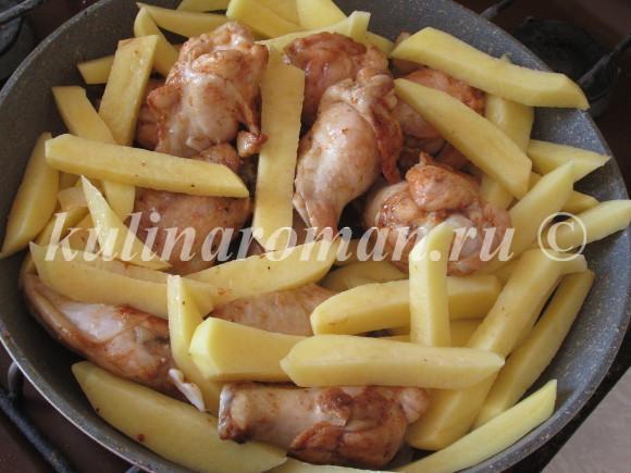 курица с картошкой тушеная