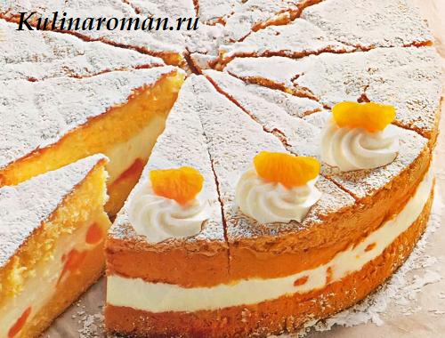 мандаринами Бисквитный торт с