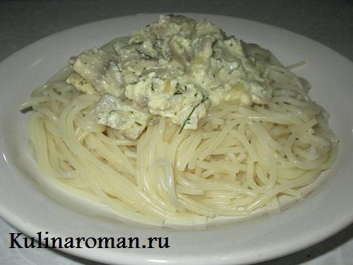 грибной соус со сметаной и макаронами