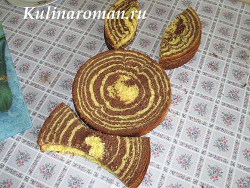 торт из мраморного бисквита