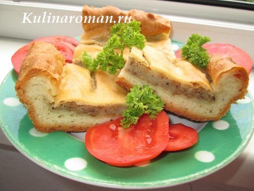 дрожжевой пирог с паштетом