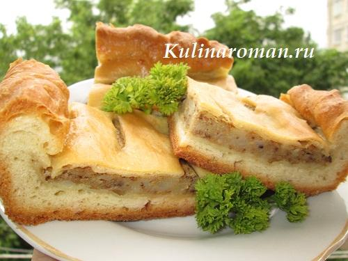 пирог с паштетом и картофелем