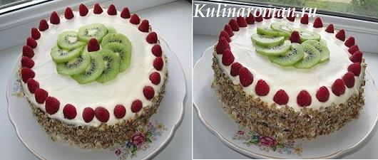 торт с малиной и киви