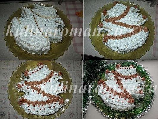 украшаем торт ёлочка