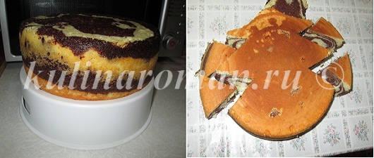 мраморный бисквит в мультиварке