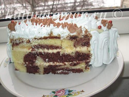 новогодний торт из бисквитный коржей