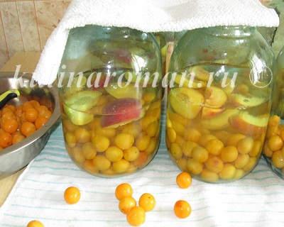компот из алычи и персиков