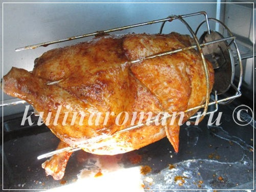 курица в духовке на вертеле