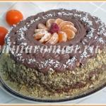 Бисквитный торт с заварным шоколадным кремом