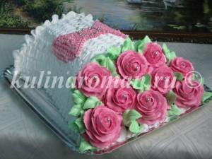 торт букет роз с белковым кремом