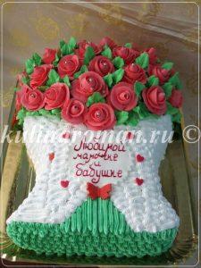 """Торт """"букет роз"""" из крема"""