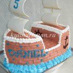 кремовый торт корабль