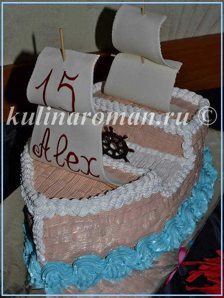 Мастер класс торт корабль из крема фото
