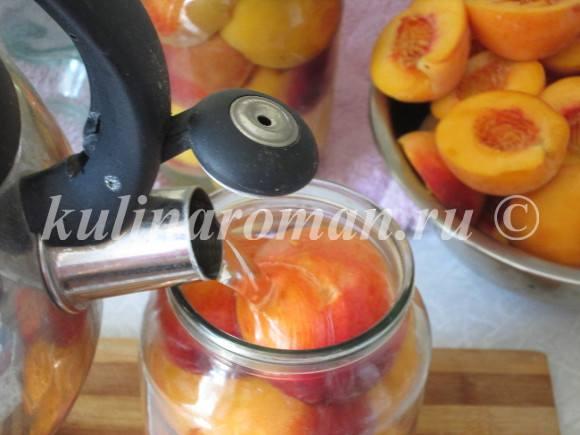 как закатать персики в сиропе