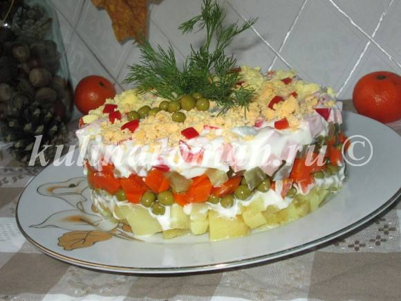 салат оливье слоеный