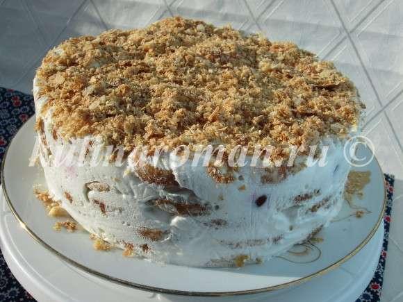 торт ленивый из печенья слоеного с кремом