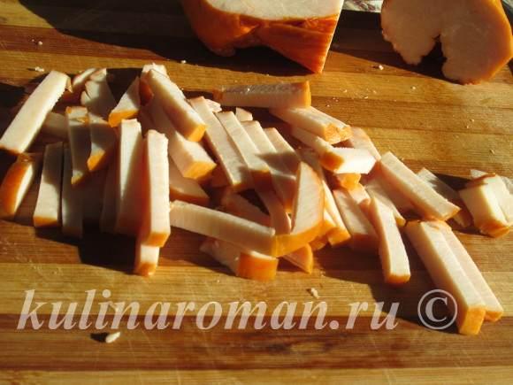 рецепт салата с копченой грудкой