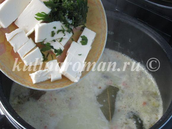 суп с грибами и плавленными сырками