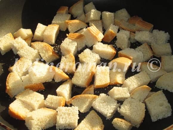 сырный суп с сухариками