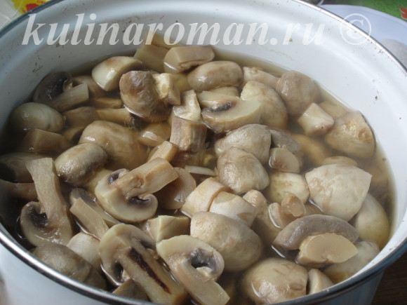 варим грибы 10 минут