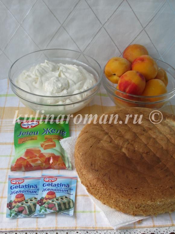 бисквитный торт суфле с персиками