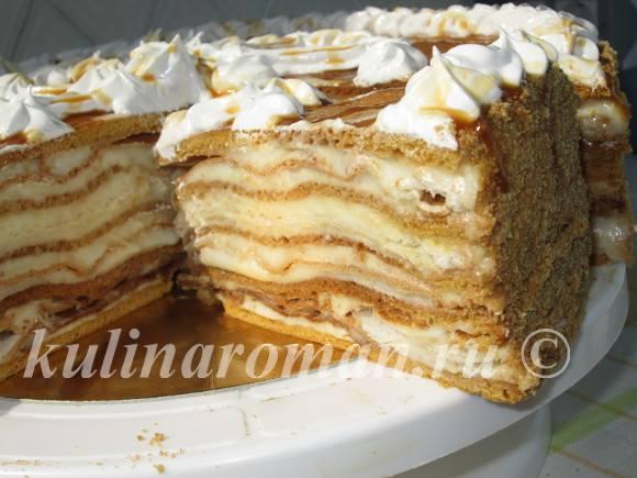 слоеный торт с медовыми коржами