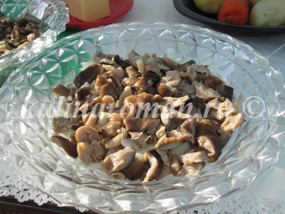 выкладываем грибы на филе с луком