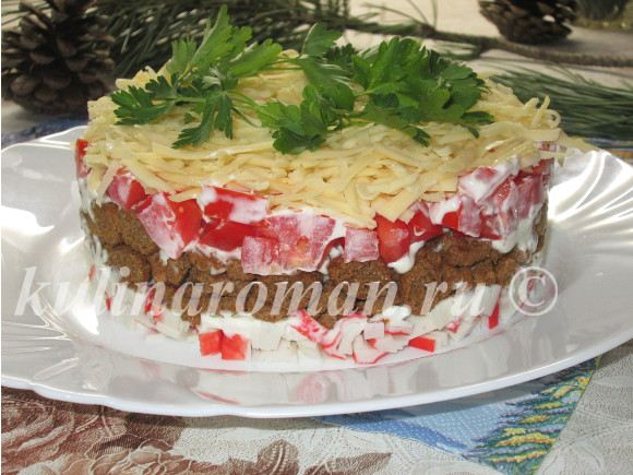 салат с крабовыми палочками и с сыром