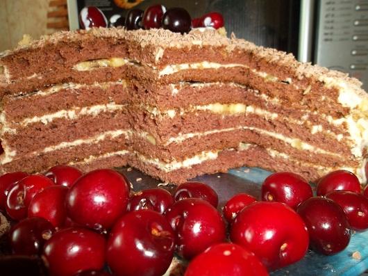 Торт на кефире со сметаной и орехами