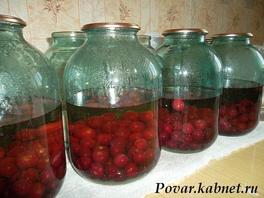 Компот из вишни с мятой заготовки на зиму