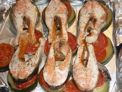 рецепт запеченной горбуши в духовке с овощами