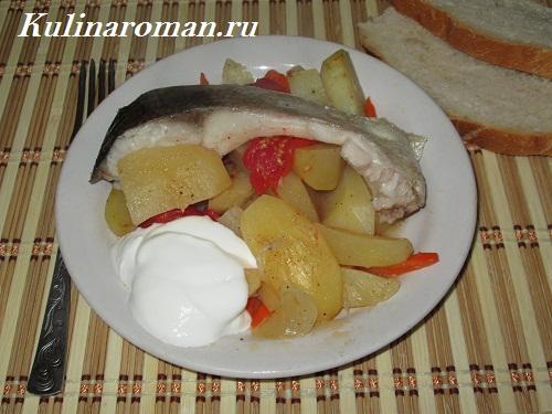 запеченная рыба с овощами рецепт