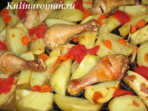 запеченный картофель с курицей