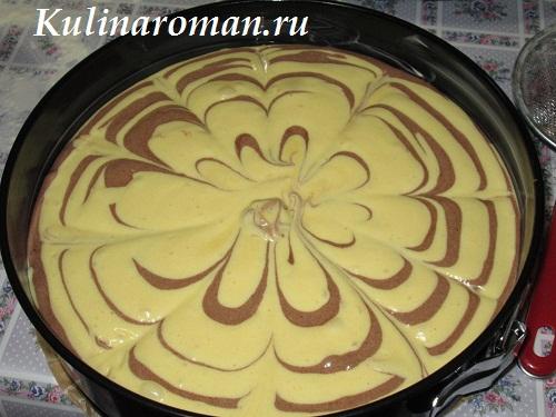 как приготовить мраморный бисквит