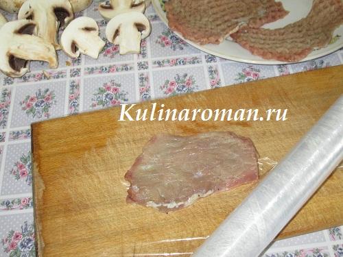 свиные отбивные с грибами
