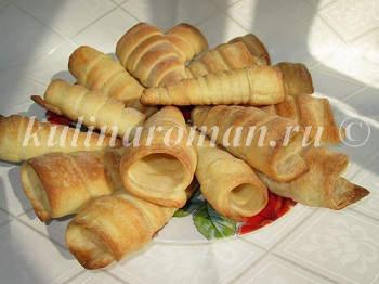 слоеные трубочки с вкусным кремом