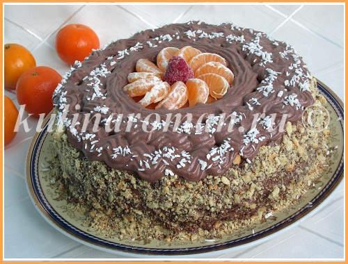 бисквитный торт с заварным кремом на скорую руку