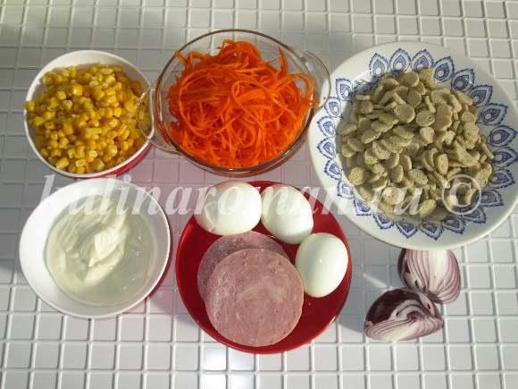 продукты для салата с кукурузой