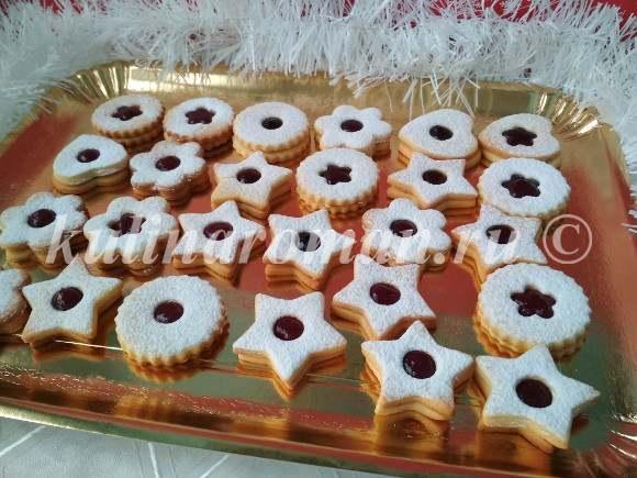 вкусное песочное печенье с джемом