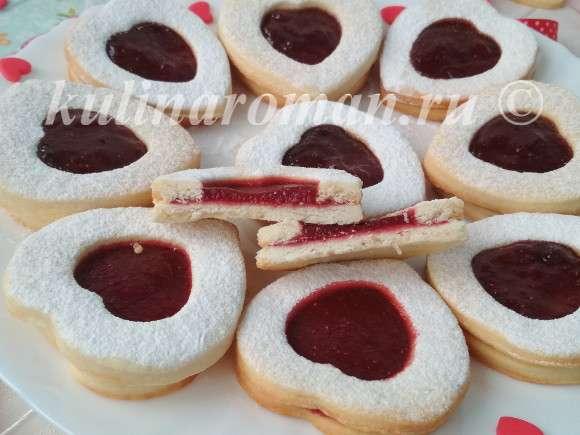 печенье с клубничным джемом