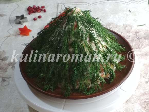 украшаем салат елочка