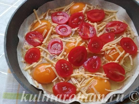 яичница с лавашем с помидорами