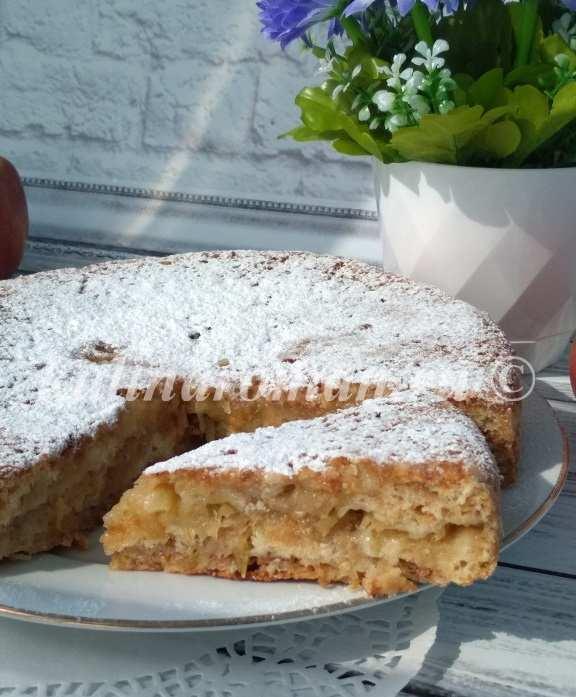 насыпной пирог с яблоками три стакана
