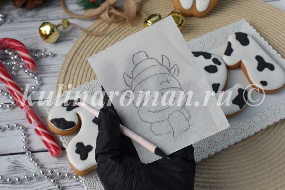 как перенести рисунок на пряник