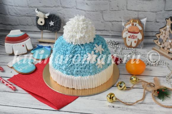 новогодний торт шапка