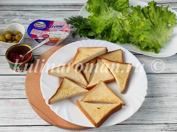 бутерброды с красной икрой и творожным сыром